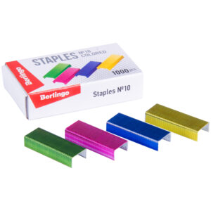 Скобы для степлера №10 Berlingo, цветные, 1000шт.