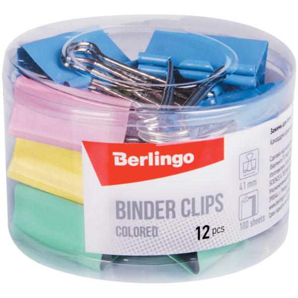 Зажимы для бумаг 41мм, Berlingo, 12шт., цветные, пластиковый тубус