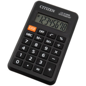 Калькулятор карманный Citizen LC-310NR, 8 разр., питание от батарейки, 69*114*14мм, черный
