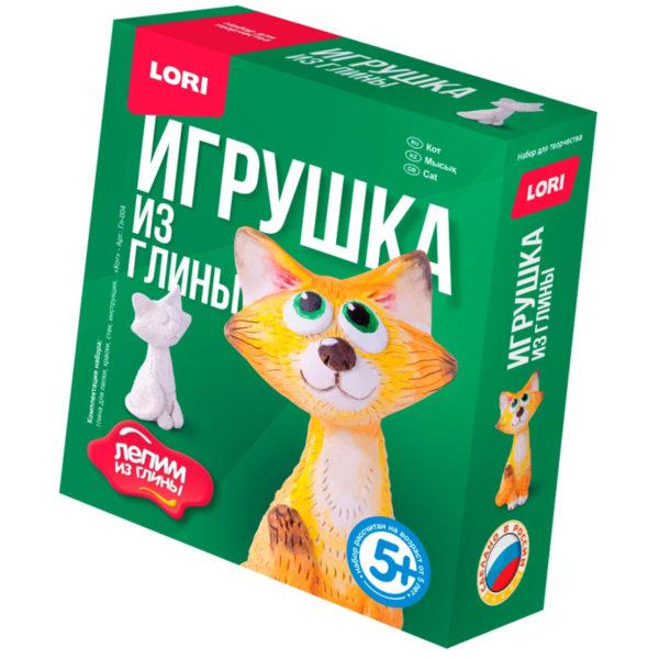 """Набор для изготовления игрушки из глины Lori """"Лепим из глины. Кот"""", от 5-ти лет, картон"""