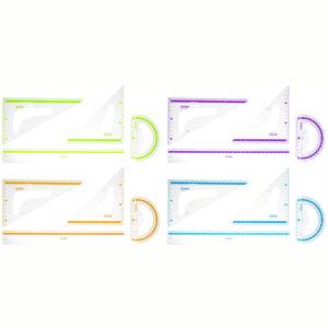"""Набор чертежный большой Berlingo """"Color Zone"""" (треуг. 2шт, линейка 30см, транспортир), прозрачный"""