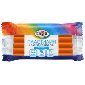 """Пластилин Гамма """"Классический"""", оранжевый, 50г"""
