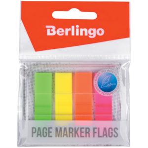 Флажки-закладки Berlingo 45*12 мм, 20л*4 неоновых цвета, в диспенсере, европодвес