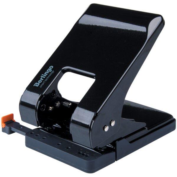 """Дырокол Berlingo """"Smart Technology"""" 45л., металл., энергосбер., с фиксатором, черный, с линейкой"""