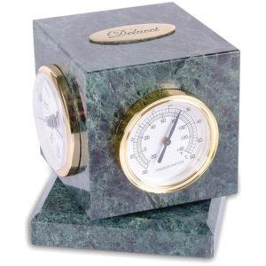 Куб вращающийся Delucci с часами, термометром, гигрометром, зеленый мрамор