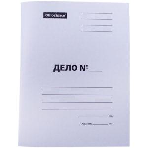 """Скоросшиватель OfficeSpace """"Дело"""", картон мелованный, 300г/м2, белый, пробитый, до 200л."""