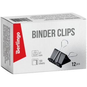 Зажимы для бумаг 41мм, Berlingo, 12шт., черные, картонная коробка