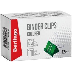 Зажимы для бумаг 25мм, Berlingo, 12шт., цветные, картонная коробка