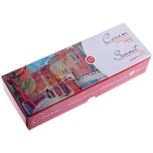 Гуашь художественная Сонет, 12 цветов, 40мл, картон