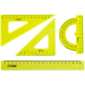 """Набор чертежный средний Стамм """"Neon Cristal"""", (треуг. 2шт., линейка 20см, транспортир), 4цв."""