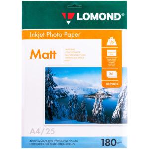 Бумага А4 для стр. принтеров Lomond, 180г/м2 (25л) мат.одн.