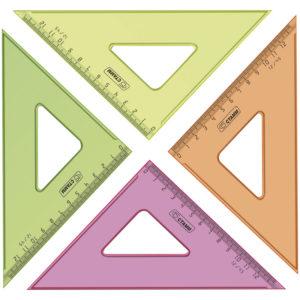 Треугольник 45°, 12см Стамм, прозрачный флуоресцентный, 4цв.