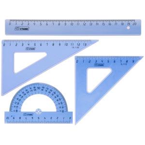 Набор чертежный средний Стамм, (треуг. 2шт., линейка 20см, транспортир), прозрачный тонированный