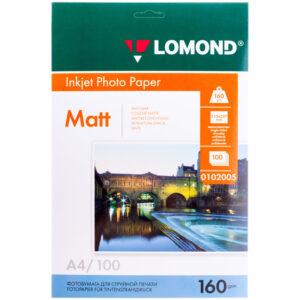 Бумага А4 для стр. принтеров Lomond, 160г/м2 (100л) мат.одн.