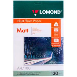Бумага А4 для стр. принтеров Lomond, 130г/м2 (100л) мат.дв.