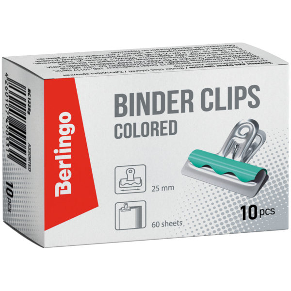 Зажимы-бульдоги для бумаг 25мм, Berlingo, 10шт. цветные, картонная коробка