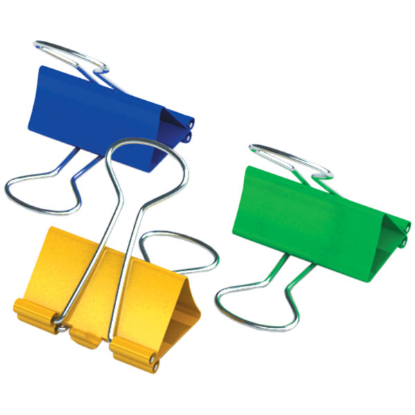 Зажимы для бумаг 15мм, Berlingo, 12шт., цветные, картонная коробка