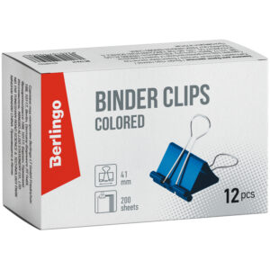 Зажимы для бумаг 41мм, Berlingo, 12шт., цветные, картонная коробка