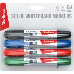 Набор маркеров для белых досок Berlingo 4цв., пулевидный, 2мм, блистер