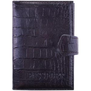 Обложка для паспорта OfficeSpace иск. кожа + изолон, с кнопкой, с подкладом, черный, крокодил