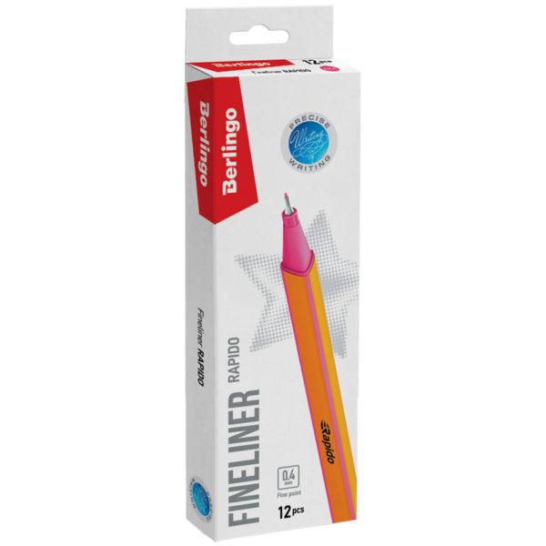 """Ручка капиллярная Berlingo """"Rapido"""" розовая, 0,4мм, трехгранная"""