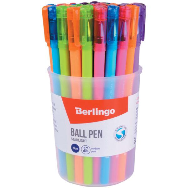 """Ручка шариковая Berlingo """"Starlight"""", синяя, 0,7мм, игольчатый стержень,прорезиненный корпус ассорти"""