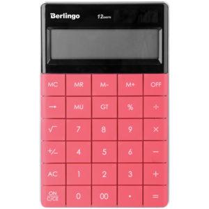 """Калькулятор настольный Berlingo """"PowerTX"""", 12 разр., двойное питание, 165*105*13мм, тёмно-розовый"""