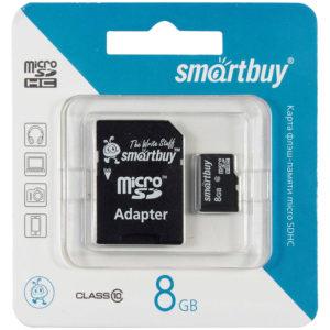 Карта памяти SmartBuy MicroSDHC  8GB, Class 10, скорость чтения 10Мб/сек (с адаптером SD)