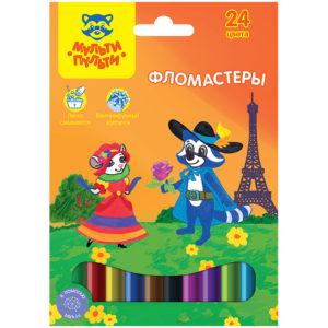"""Фломастеры Мульти-Пульти """"Енот во Франции"""", 24цв., смываемые, картон, европодвес"""