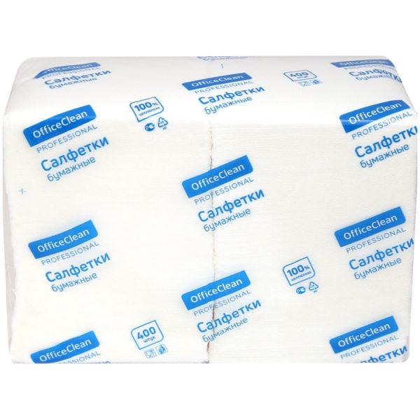 "Салфетки бумажные OfficeClean ""Profi Pack"", 1 слойн., 24*24см, белые, 400шт."
