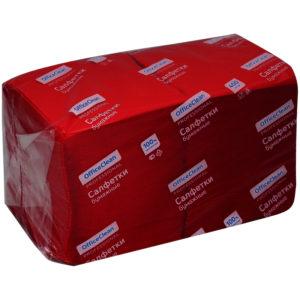 "Салфетки бумажные OfficeClean ""Profi Pack"", 1 слойн., 24*24см, бордо, 400шт."