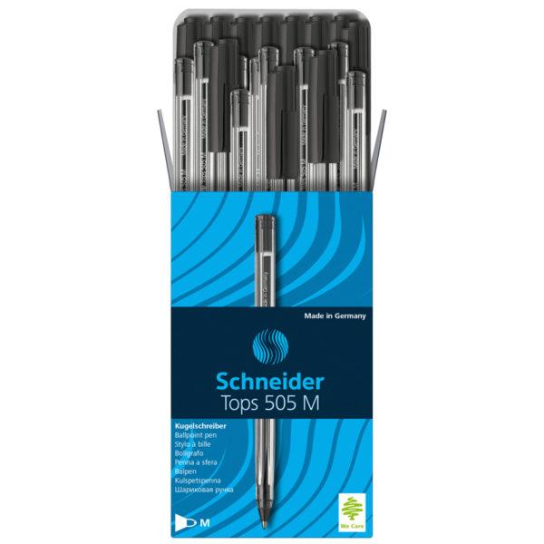 """Ручка шариковая Schneider """"Tops 505 M"""" черная, 1,0мм, прозрачный корпус"""