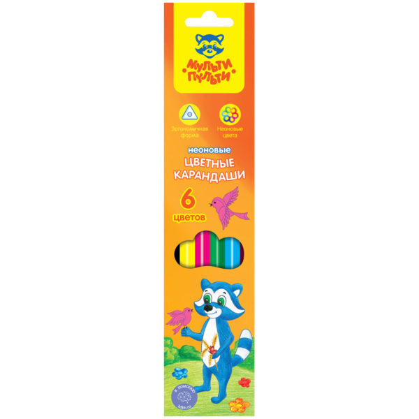 """Карандаши цветные Мульти-Пульти """"Енот на лужайке"""", 06цв., трехгранные, неоновые, картон"""