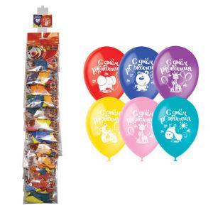 """Воздушные шары,   5шт., М12/30см, Поиск """"С Днём рождения"""", пастель+декор, ассорти, европ.,стриплента"""