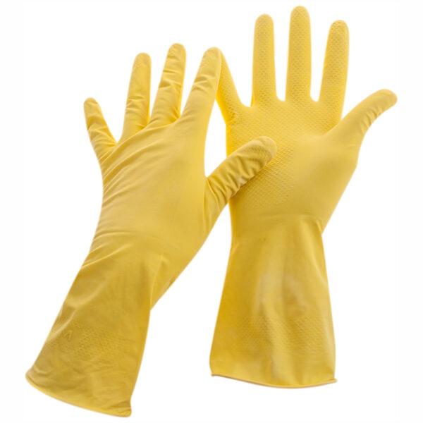 Перчатки резиновые хозяйственные OfficeClean Стандарт+,супер прочные,рXL,желтые,пакет с европодвесом