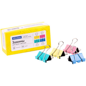 Зажимы для бумаг 32мм, OfficeSpace, 12шт., цветные, картонная коробка