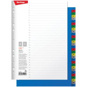 Разделитель листов Berlingo А4, 31 лист, цифровой 1-31, цветной, пластиковый