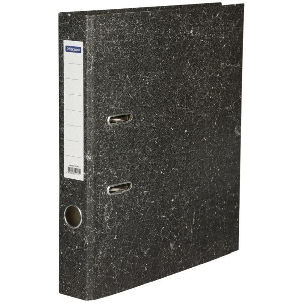 Папка-регистратор OfficeSpace 50мм, мрамор, черная,  бюджет