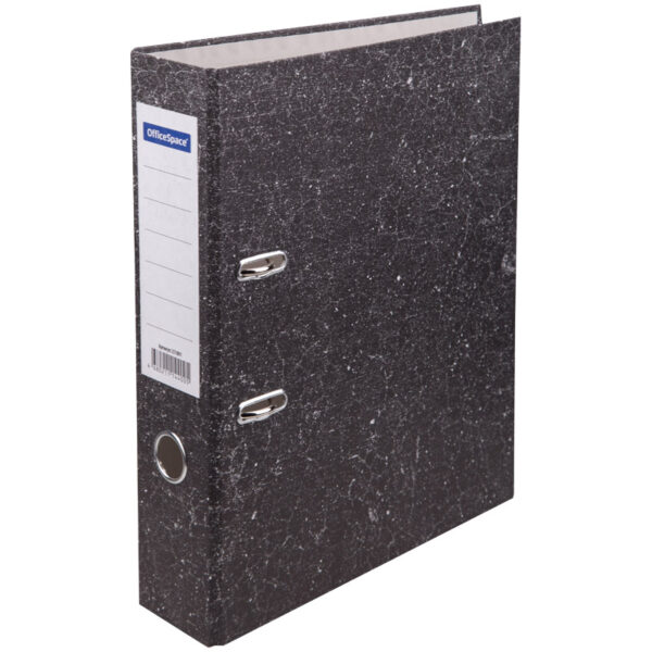 Папка-регистратор OfficeSpace 70мм, мрамор, черная,  бюджет