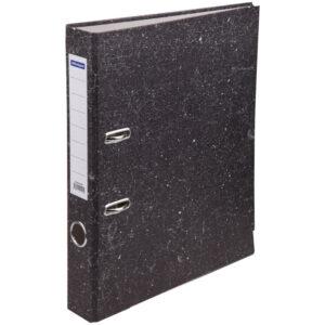 Папка-регистратор OfficeSpace 50мм, мрамор, черная, нижний метал. кант