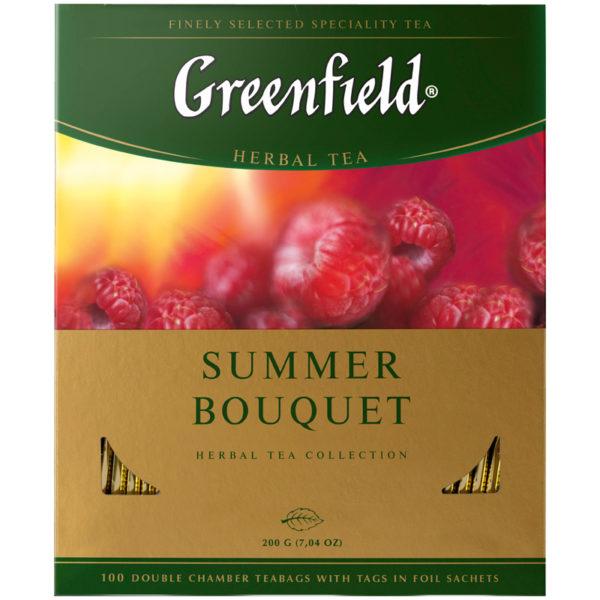 """Чай Greenfield """"Summer Bouquet"""", травяной аром. малина, шиповник, яблоко, 100 пакетиков по 2г"""