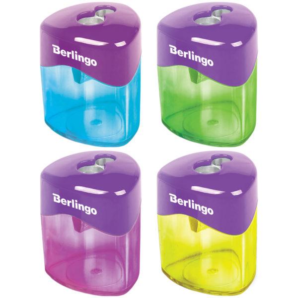 """Точилка пластиковая Berlingo """"DoubleColor"""", 2 отверстия, контейнер, ассорти"""