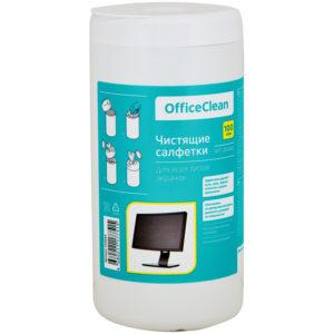 Салфетки чистящие влажные OfficeClean, для экранов, в тубе, 100шт.