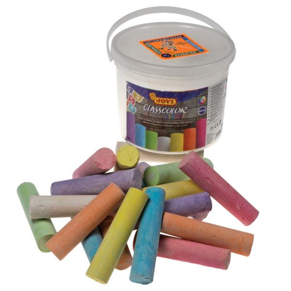 Набор цветных мелков асфальтовых JOVI, 20шт., 7цв., круглый, пластиковое ведро