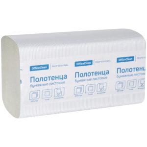 """Полотенца бумажные лист. OfficeClean """"Professional""""(V-сл) (H3) 1 сл., 250л/пач, 21*21,6, цвет натур."""