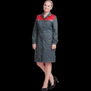 Халат КМ-10 ЛЮКС, серый-красный, женский
