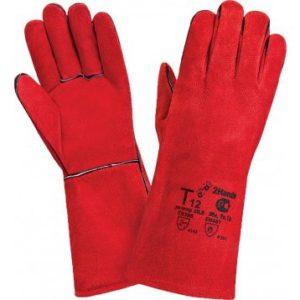 Краги МЕТАЛЛУРГ, (Т12/Трек), спилок, 5-ти палые, красные, подкладка байка/полулен, усиленные швы