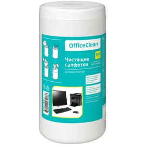 Салфетки чистящие влажные OfficeClean, универсальные, в тубе, 100шт.