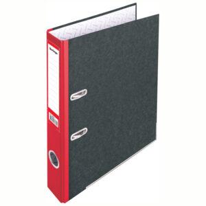 "Папка-регистратор Berlingo ""Standard"", 50мм, мрамор, с карм. на корешке, нижний метал. кант, красная"