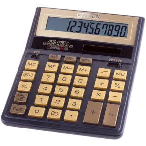 Калькулятор настольный Citizen SDC-888TIIGE, 12 разр., двойное питание, 158*203*31мм, черн/золото